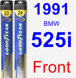 Front Wiper Blade Pack for 1991 BMW 525i - Hybrid
