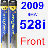 Front Wiper Blade Pack for 2009 BMW 528i - Hybrid