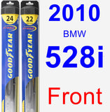 Front Wiper Blade Pack for 2010 BMW 528i - Hybrid