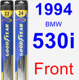 Front Wiper Blade Pack for 1994 BMW 530i - Hybrid