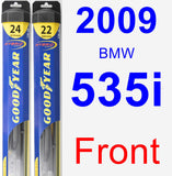 Front Wiper Blade Pack for 2009 BMW 535i - Hybrid