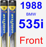 Front Wiper Blade Pack for 1988 BMW 535i - Hybrid
