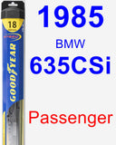 Passenger Wiper Blade for 1985 BMW 635CSi - Hybrid