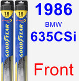 Front Wiper Blade Pack for 1986 BMW 635CSi - Hybrid