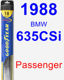 Passenger Wiper Blade for 1988 BMW 635CSi - Hybrid