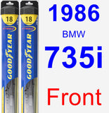 Front Wiper Blade Pack for 1986 BMW 735i - Hybrid