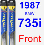 Front Wiper Blade Pack for 1987 BMW 735i - Hybrid