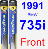 Front Wiper Blade Pack for 1991 BMW 735i - Hybrid