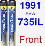 Front Wiper Blade Pack for 1991 BMW 735iL - Hybrid