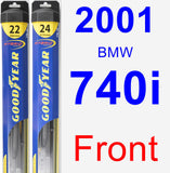 Front Wiper Blade Pack for 2001 BMW 740i - Hybrid