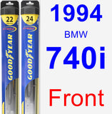 Front Wiper Blade Pack for 1994 BMW 740i - Hybrid