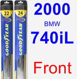 Front Wiper Blade Pack for 2000 BMW 740iL - Hybrid