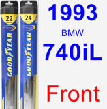 Front Wiper Blade Pack for 1993 BMW 740iL - Hybrid