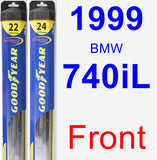 Front Wiper Blade Pack for 1999 BMW 740iL - Hybrid