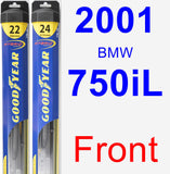Front Wiper Blade Pack for 2001 BMW 750iL - Hybrid