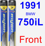 Front Wiper Blade Pack for 1991 BMW 750iL - Hybrid