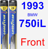 Front Wiper Blade Pack for 1993 BMW 750iL - Hybrid