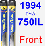 Front Wiper Blade Pack for 1994 BMW 750iL - Hybrid