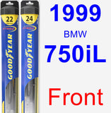 Front Wiper Blade Pack for 1999 BMW 750iL - Hybrid