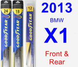 Front & Rear Wiper Blade Pack for 2013 BMW X1 - Hybrid