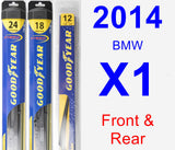 Front & Rear Wiper Blade Pack for 2014 BMW X1 - Hybrid