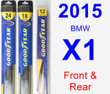 Front & Rear Wiper Blade Pack for 2015 BMW X1 - Hybrid