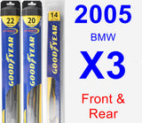 Front & Rear Wiper Blade Pack for 2005 BMW X3 - Hybrid