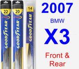 Front & Rear Wiper Blade Pack for 2007 BMW X3 - Hybrid