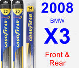Front & Rear Wiper Blade Pack for 2008 BMW X3 - Hybrid