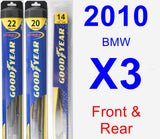 Front & Rear Wiper Blade Pack for 2010 BMW X3 - Hybrid