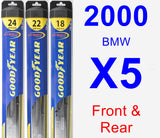 Front & Rear Wiper Blade Pack for 2000 BMW X5 - Hybrid