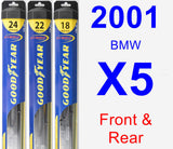 Front & Rear Wiper Blade Pack for 2001 BMW X5 - Hybrid