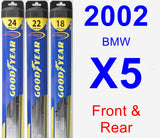 Front & Rear Wiper Blade Pack for 2002 BMW X5 - Hybrid