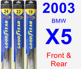 Front & Rear Wiper Blade Pack for 2003 BMW X5 - Hybrid