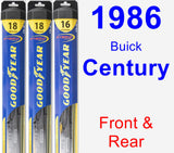 Front & Rear Wiper Blade Pack for 1986 Buick Century - Hybrid
