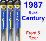 Front & Rear Wiper Blade Pack for 1987 Buick Century - Hybrid