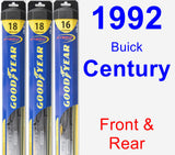 Front & Rear Wiper Blade Pack for 1992 Buick Century - Hybrid
