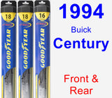 Front & Rear Wiper Blade Pack for 1994 Buick Century - Hybrid