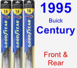 Front & Rear Wiper Blade Pack for 1995 Buick Century - Hybrid