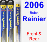 Front & Rear Wiper Blade Pack for 2006 Buick Rainier - Hybrid