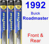Front & Rear Wiper Blade Pack for 1992 Buick Roadmaster - Hybrid