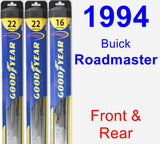 Front & Rear Wiper Blade Pack for 1994 Buick Roadmaster - Hybrid