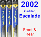 Front & Rear Wiper Blade Pack for 2002 Cadillac Escalade - Hybrid