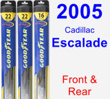 Front & Rear Wiper Blade Pack for 2005 Cadillac Escalade - Hybrid