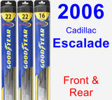 Front & Rear Wiper Blade Pack for 2006 Cadillac Escalade - Hybrid