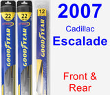 Front & Rear Wiper Blade Pack for 2007 Cadillac Escalade - Hybrid