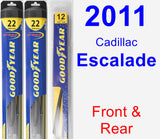 Front & Rear Wiper Blade Pack for 2011 Cadillac Escalade - Hybrid