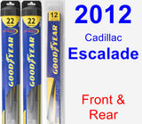 Front & Rear Wiper Blade Pack for 2012 Cadillac Escalade - Hybrid