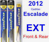 Front & Rear Wiper Blade Pack for 2012 Cadillac Escalade EXT - Hybrid