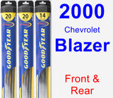 Front & Rear Wiper Blade Pack for 2000 Chevrolet Blazer - Hybrid